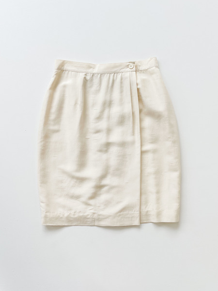 Vintage  Raw Silk Wrap Pencil Skirt - ivory