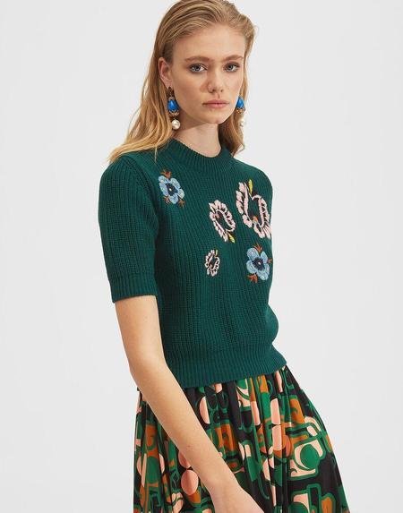La Double J Cropped Knit Top - Verde