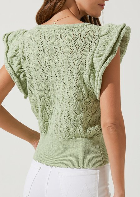 Astr the Label Myla Button Down Ruffle Sleeve Cardigan - Mint Sage Green