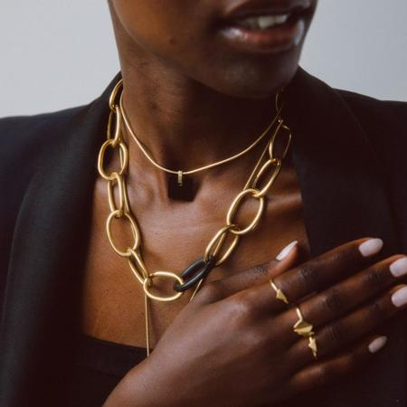 Soko Nene Horn Link Collar Necklace - Gold