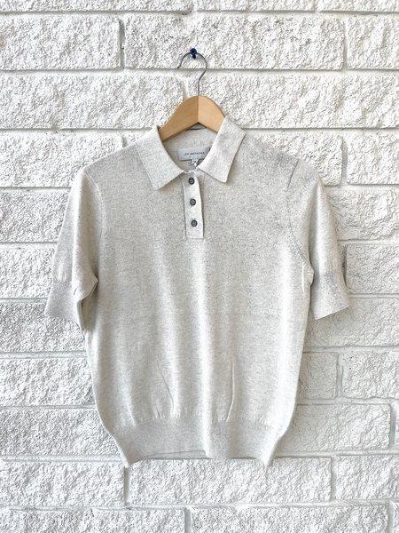 Lee Mathews Cotton Cashmere Polo top - Grey Marle