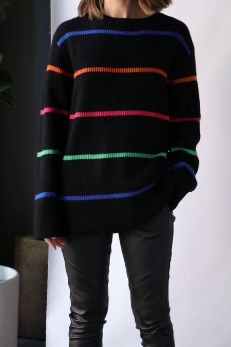 UNISEX The Elder Statesman Mr. Robin Stripe Relaxed Crew sweater - BLACK