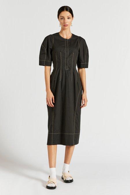 Lee Mathews Nerissa Darted Cocoon Dress - black