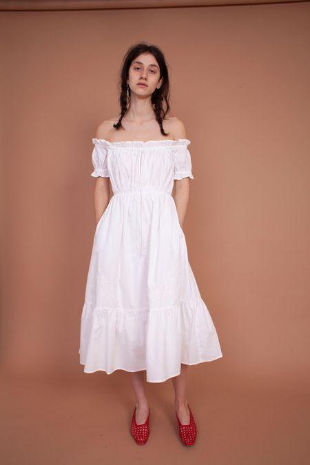 Meadows Fern Dress Midi - White Embroidery