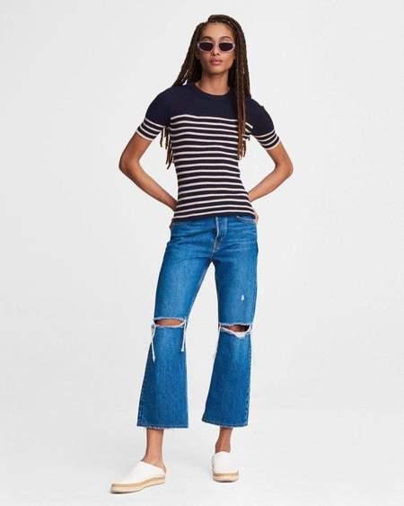 Rag & Bone Kate Striped Cotton Cashmere Short Sleeve - BLUE