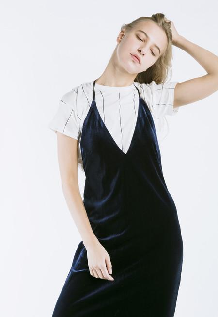 ROCKET X LUNCH Velvet Slip Dress in Navy