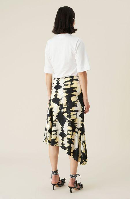 Ganni Silk Stretch Satin Skirt - Phantom