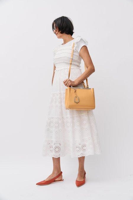pre-loved Fendi Leather Double Top Handbag - Yellow