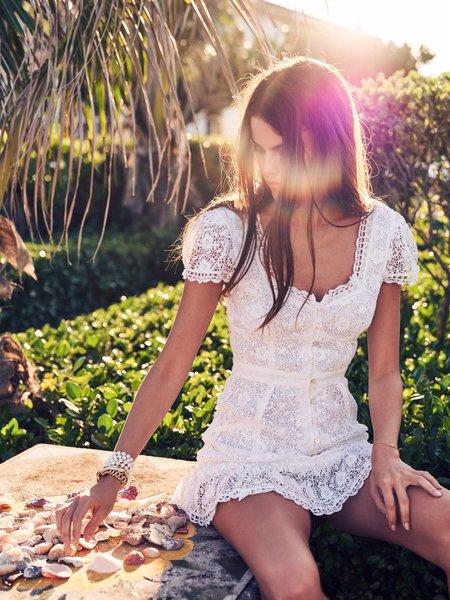 LoveShackFancy Acantha Mini Dress - True White