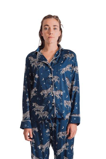 Averie Sleeps Adah Pajamas - Zebra Starry Night/Deep Blue