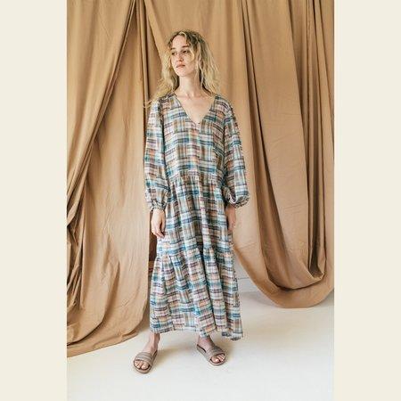 Bronze Age Daphne Dress - Sunset Patch Plaid