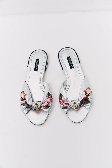 pre-loved Dolce & Gabbana Floral Leather Sandals - Silver/Floral