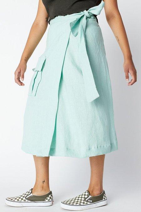 back beat rags Linen Wrap Cargo Skirt - Foam