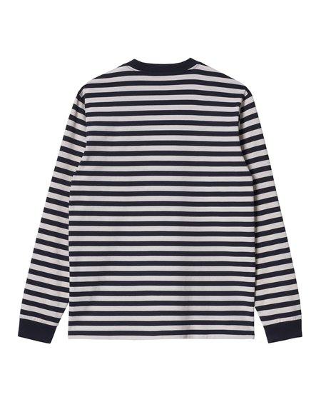 CARHARTT WIP LS Scotty Pocket T-Shirt - Scotty Stripe Dark Navy/Wax