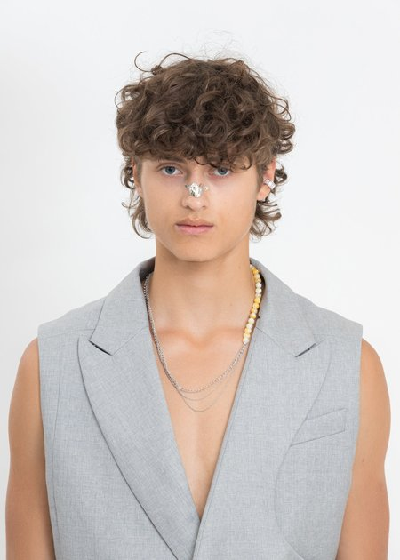 William Shen Chains And Yellow Sea Shell Necklace - Silver