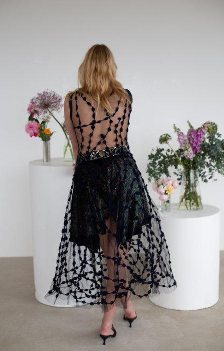 Sydney Pimbley Crochet Dot Dress - Black/Navy