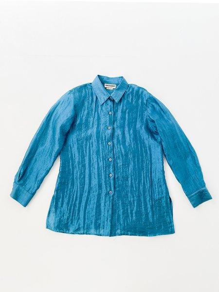 Vintage Aqua Sheer Organza Blouse - blue