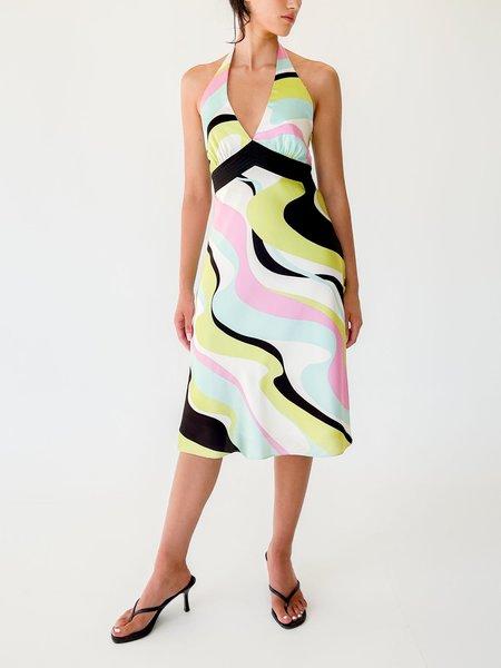 Vintage Pucci Esque Print Silk Halter Dress - multi