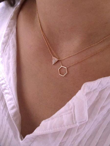 Hortense By Myself Hexagon necklace - yellow gold