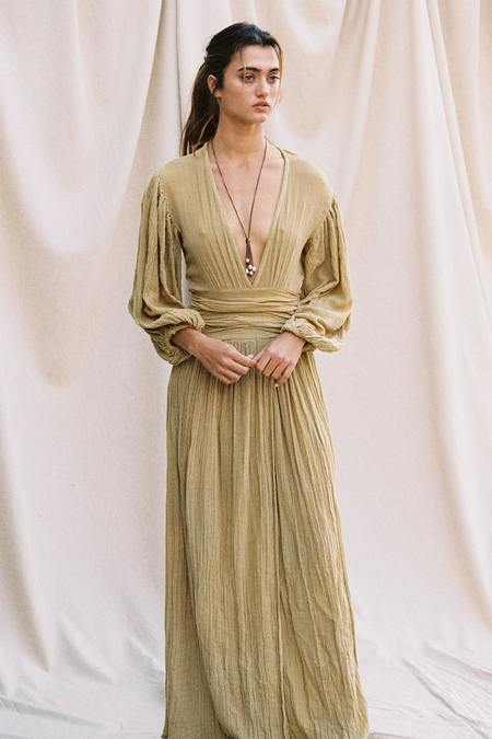 Jen's Pirate Booty Lapis Maxi Dress- Gauze Olive