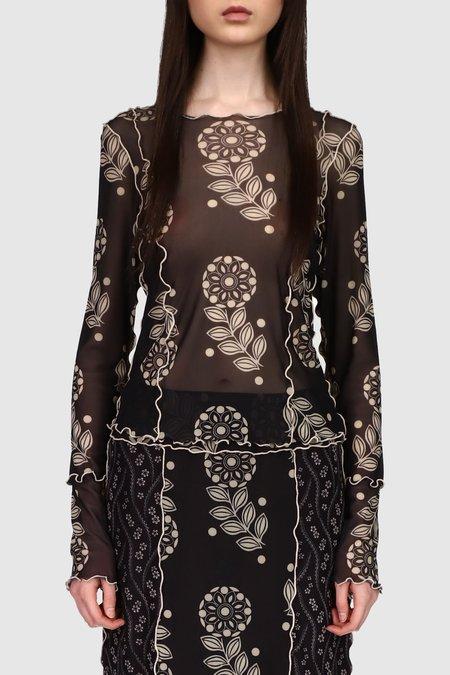 Anna Sui Posies & Pop Flowers Mesh Top - Black Multi