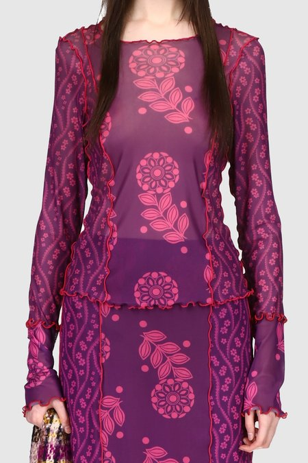 Anna Sui Posies & Pop Flowers Mesh Top - Purple