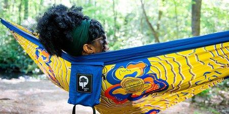Eno Kili Mapp Kili DoubleNest Print Hammock - Custom Sapphire/Outdoor Afro Gold