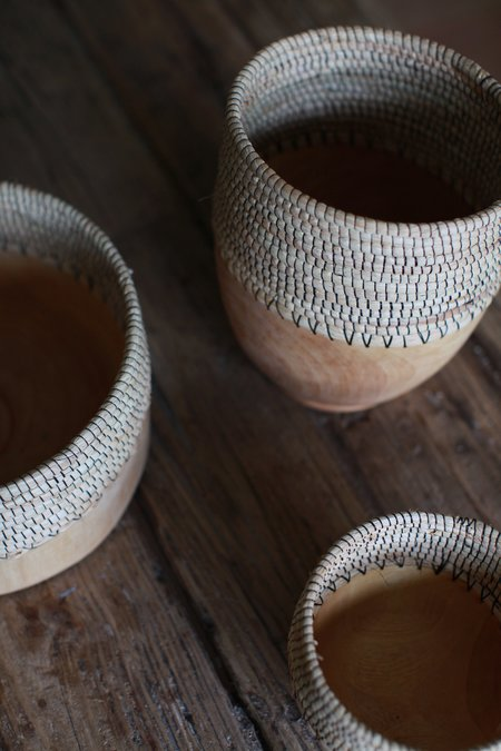 Indego Africa Raffia &amp Wood Basket