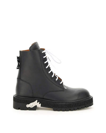Off-White Leather Boots - Black