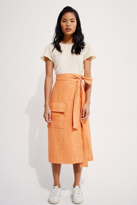 Back Beat Co. Linen Wrap Cargo Skirt - Peach