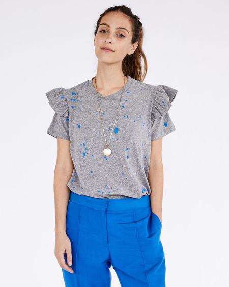 Clare V. Ruffle Tee - Grey/Cobalt Splash
