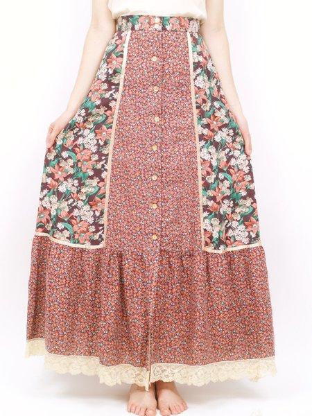 Vintage 70s prairie skirt - burgundy/red/green florals