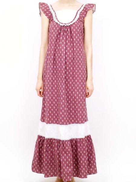 vintage 70s holly hobby ruffle maxi dress - burgundy