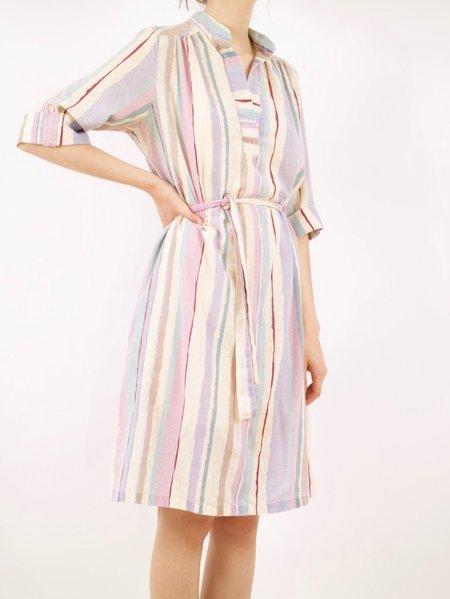 Vintage striped caftan # dress - cream/purples/blues