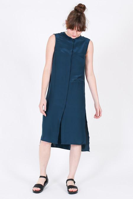 Vincetta Sleeveless Shirt Dress in Dark Teal