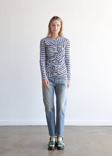 Nomia Gathered Front Top - Midnight/White Gingham