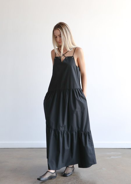 Nomia Maxi Gathered Criss Cross Dress - Black