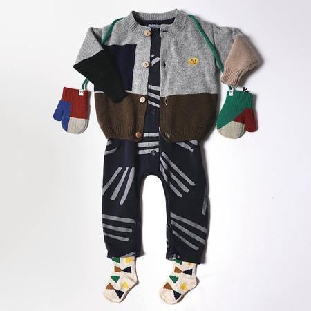 kids Bobo Choses Baby Geometric Pattern Cardigan - Grey