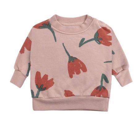 bobo choses big flowers all over baby sweatshirt - pink