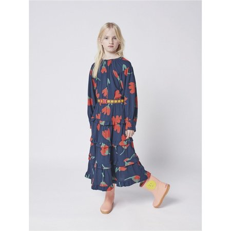 kids bobo choses big flowers woven ruffle skirt - black