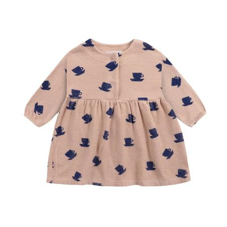 kids bobo choses cup of tea all over terry baby dress - rose