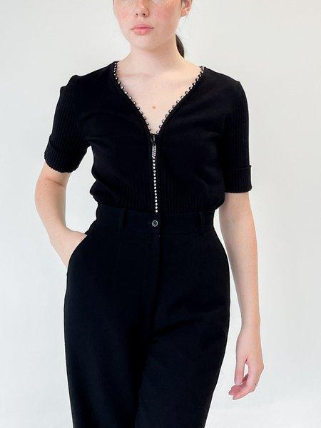 vintage Ribbed Knit Rhinestone Top - Black