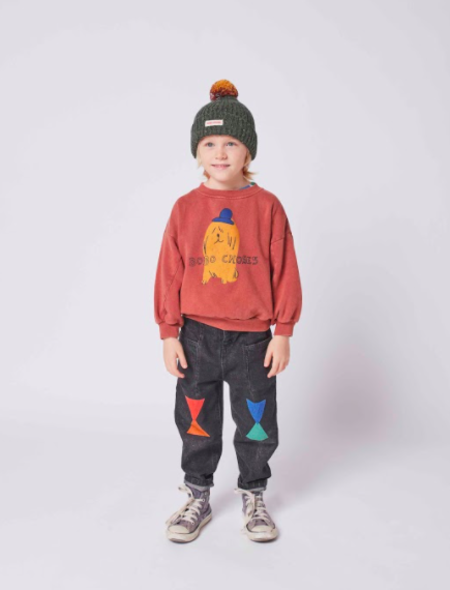 kids Bobo Choses Dog in the Hat Sweatshirt - red
