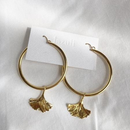 LAZULI 44mm Gold Ginkgo Leaf Removable Charm Hoop Earrings - Gold