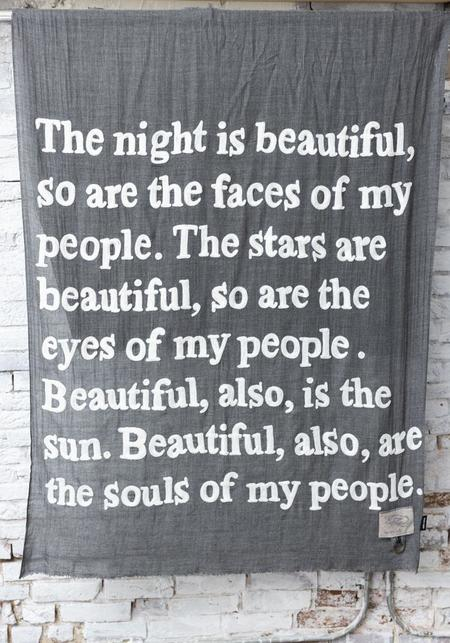 Karien Belle The Night Is Beautiful Lightweight Embroidered Poetry Scarf