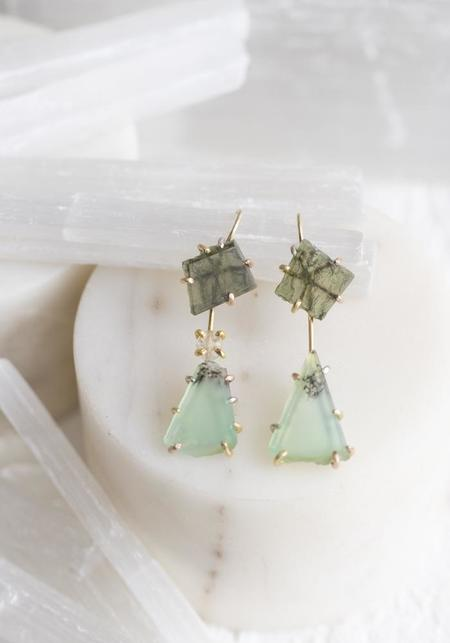 Variance Objects Chyrsoprase and Rose Cut Diamond Drops - 14KT/18KT Gold