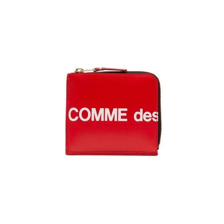 Comme des Garçons Classic Huge Logo  3/4 Zip Wallet - Red