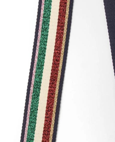 Clare V. Crossbody Strap - Green/Red Lurex Striped Webbing