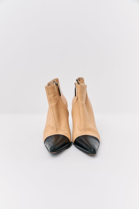 [Pre-Loved] Chanel Contrast Boots - Beige/Black