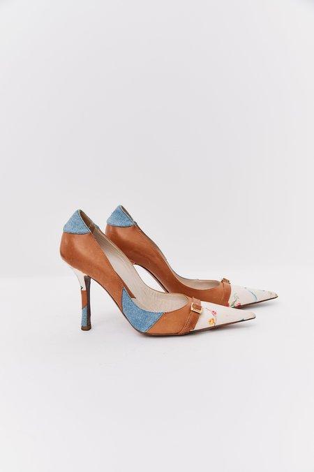 [Pre-Loved] Christian Dior Leather Floral Heels - Denim
